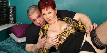 Mature housewife sucks her toyboy's cock and gets fucked in her shaved pussy