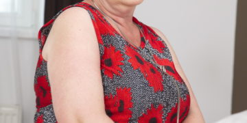 This naughty hairy granny gets it in POV style